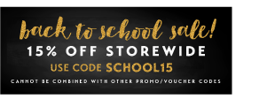 15% off Back to School Sale